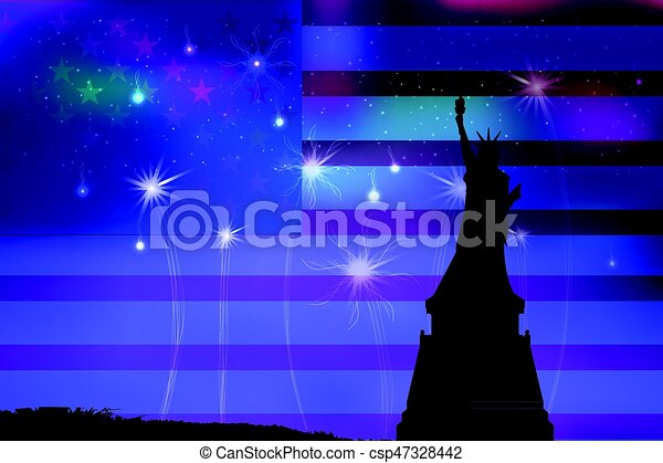 US Independence Day. Illustration, vector - csp47328442