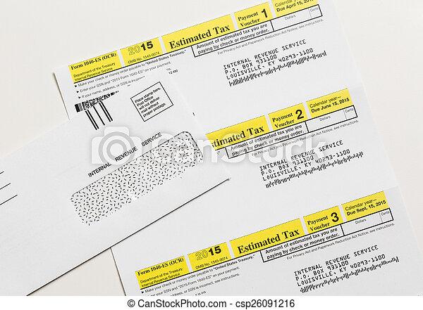 Us Irs Tax Form 1040 Es Internal Revenue Service Irs Form Stock