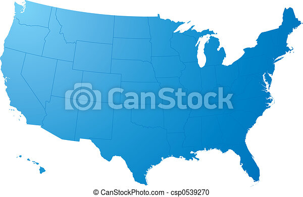 us map plain a blue map on a solid white background stock the us solid