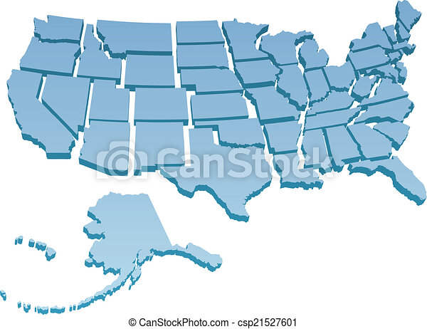 Us map separate united states Map of america usa with the vector