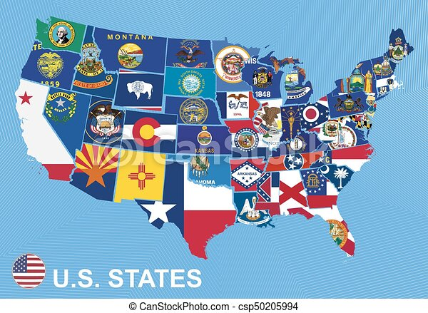 Us Map With Flags Of States On Blue Background