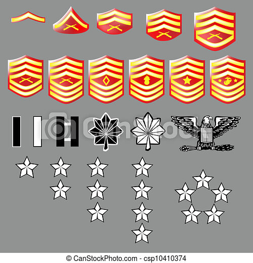 Us Marine Corps Rank Insignia For Officers And Enlisted In Vector