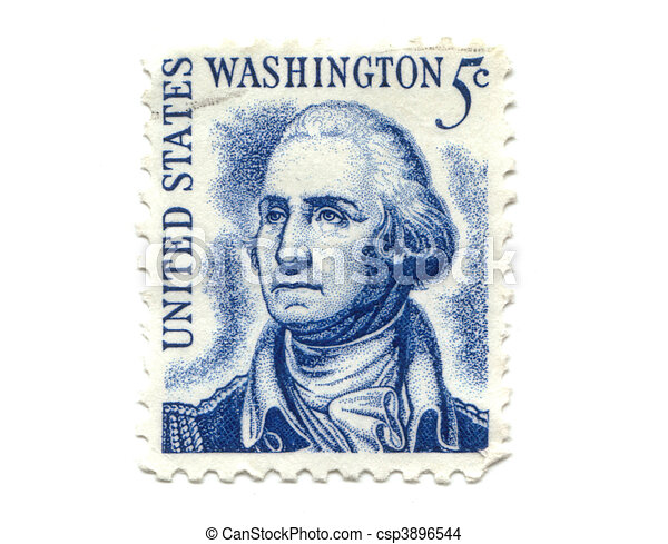 US postage stamp on white background 5c  - csp3896544