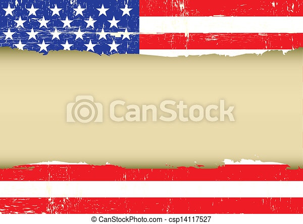 US scratched flag - csp14117527