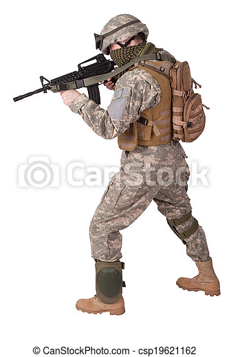 US soldier in action - csp19621162
