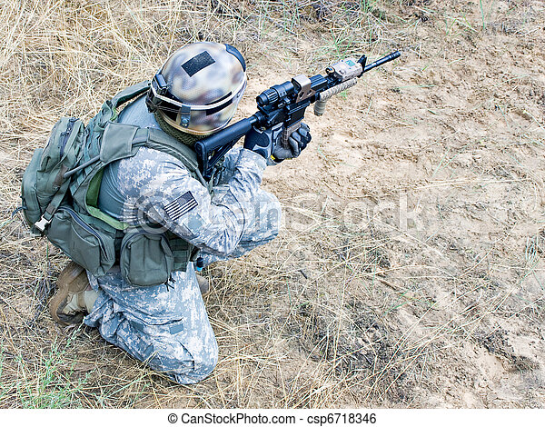 US soldier in action - csp6718346