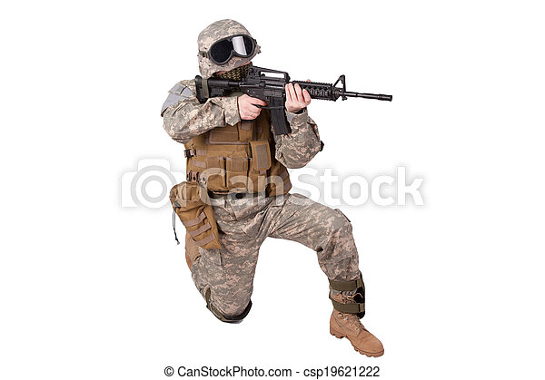 US soldier in action - csp19621222