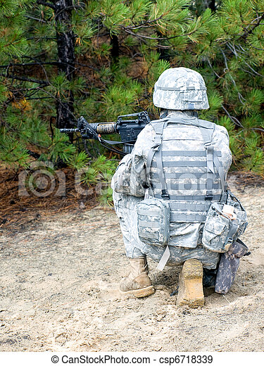 US soldier in action - csp6718339