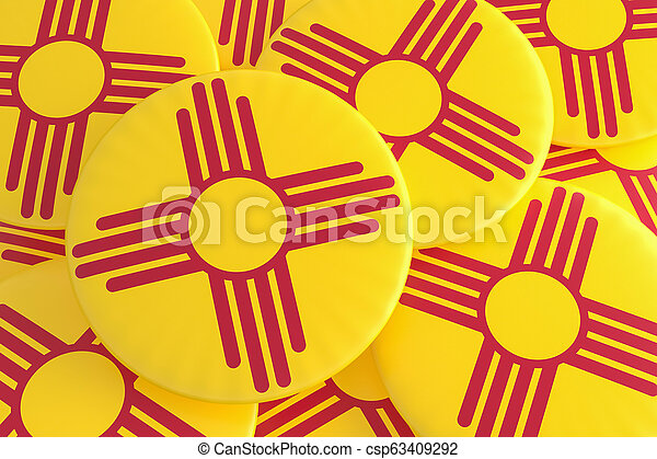 US State Buttons: Pile of New Mexico Flag Badges 3d illustration - csp63409292
