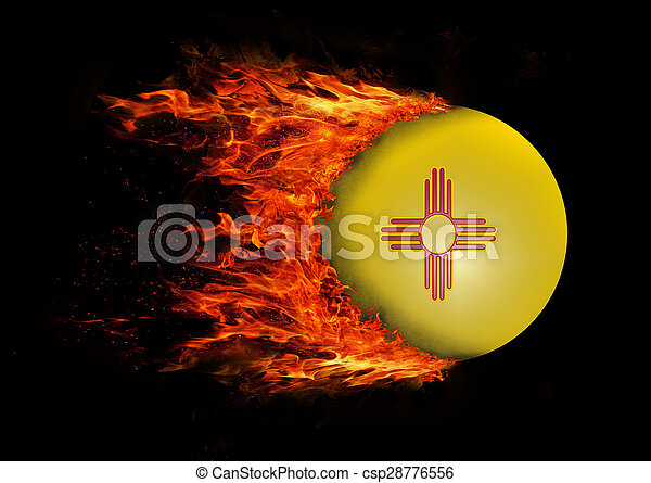 US state flag with a trail of fire - New Mexico - csp28776556