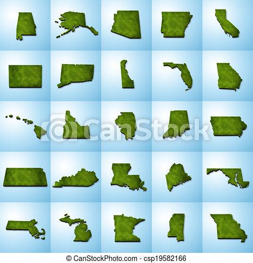 US State Maps Set I including Alabama Alaska Arizona stock