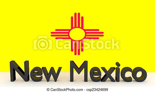 US state New Mexico, metal name in front of flag - csp23424699