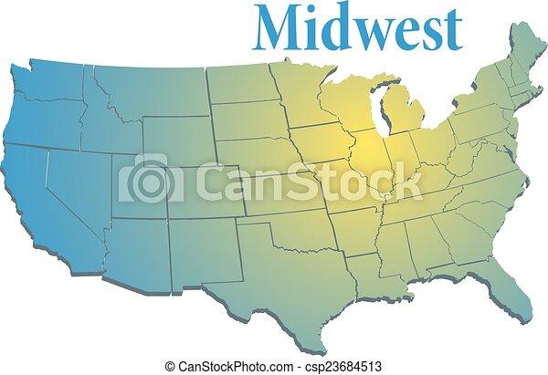US states Regional Mid West map - csp23684513