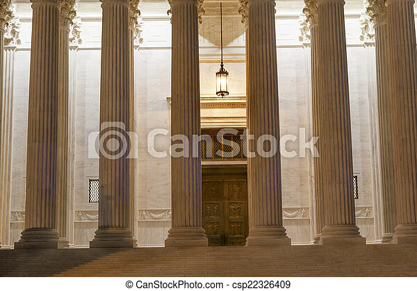 US Supreme Court Columns Door Washington DC - csp22326409
