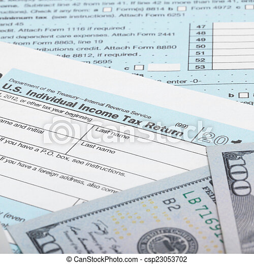 Us Tax Form 1040 With 100 Us Dollar Bills Stock Photography Search