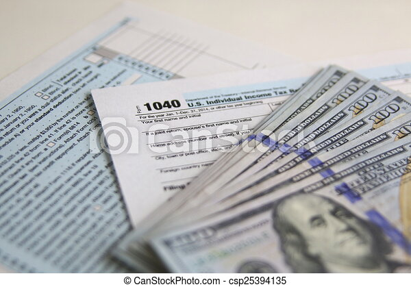Us Tax Form 1040 With New 100 Us Dollar Bills Business Drawings