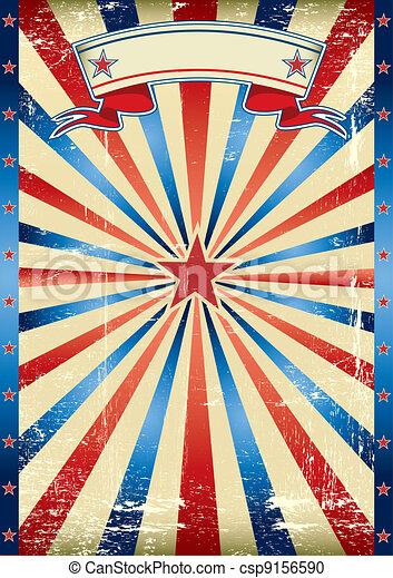 US tricolor vintage poster - csp9156590