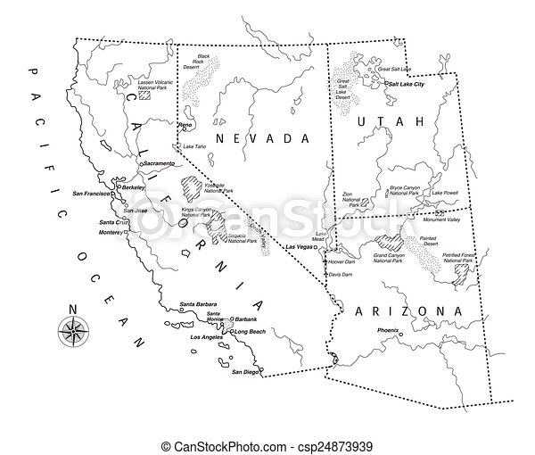 Stock Ilration Us West Coast Map