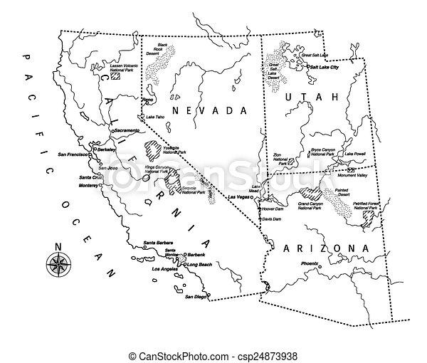 Us West Coast Map Csp24873938