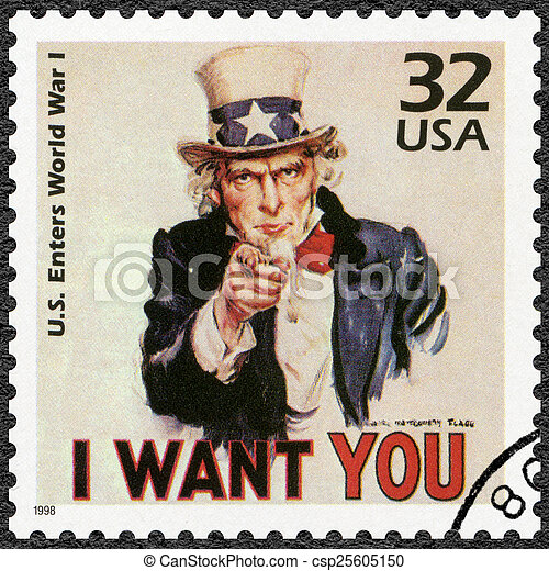 USA - 1998: shows Uncle Sam, U.S. enters World War I, series Cel - csp25605150