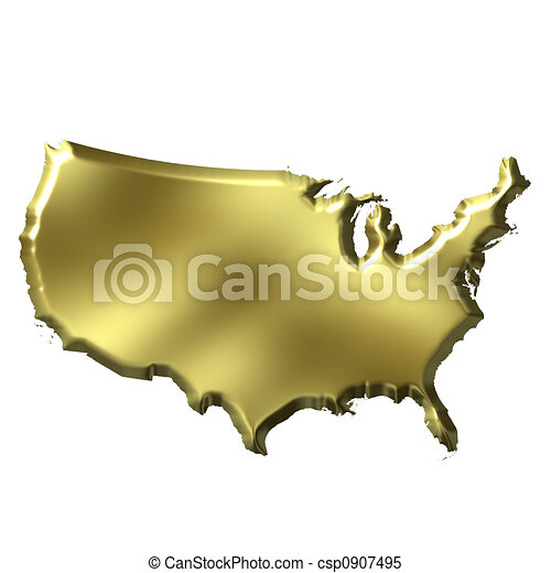 USA 3D Golden Map - csp0907495