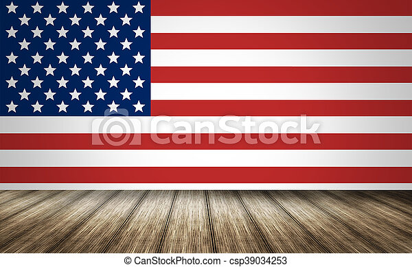usa america state flag background wood 3d render csp39034253