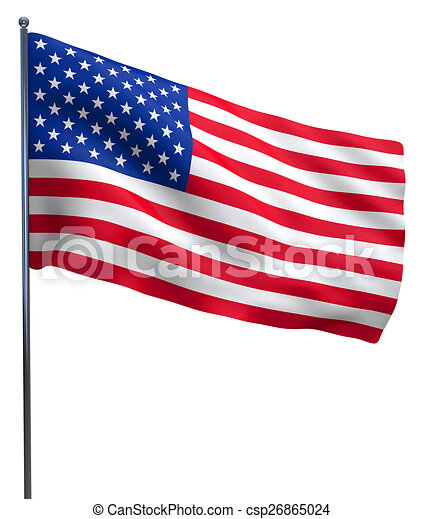Usa American Flag Waving Isolated On White Background