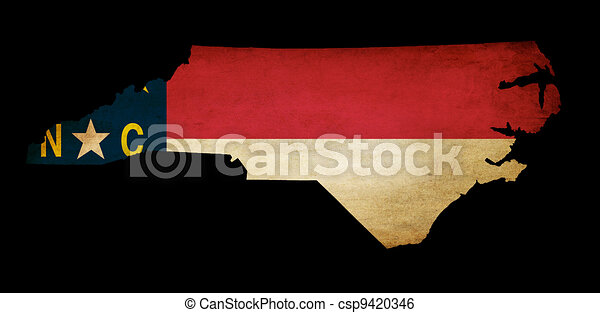 USA American North Carolina state map outline with grunge effect flag insert  - csp9420346