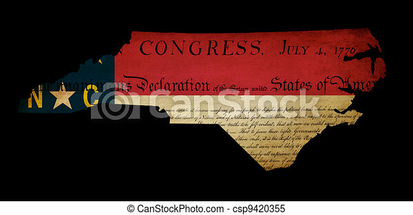 USA American North Carolina state map outline with grunge effect flag insert and Declaration of Independence overlay - csp9420355