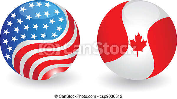 USA and Canada flags globe - csp9036512
