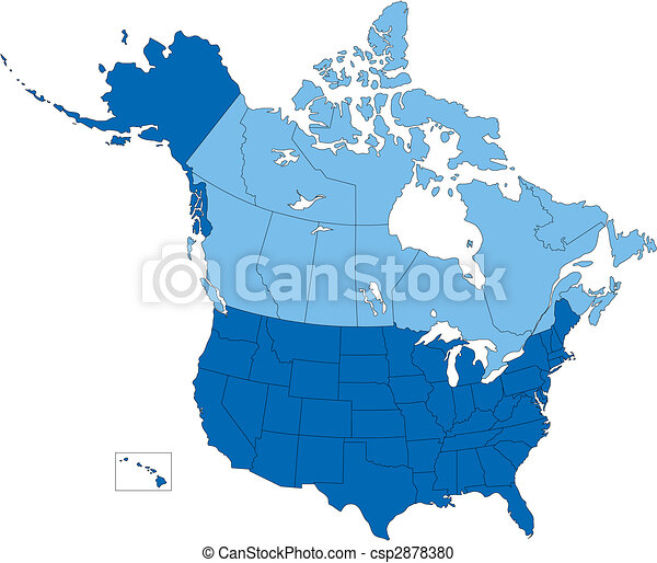 Canada Usa Map States And Provinces.Usa And Canada States And Provinces Blue Color Vector Map Of