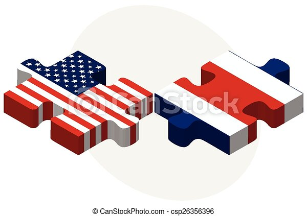 USA and Costa Rica Flags in puzzle - csp26356396
