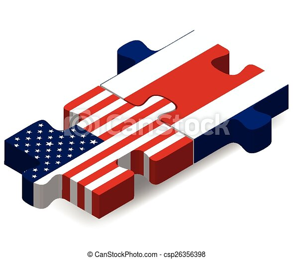 USA and Costa Rica Flags in puzzle - csp26356398