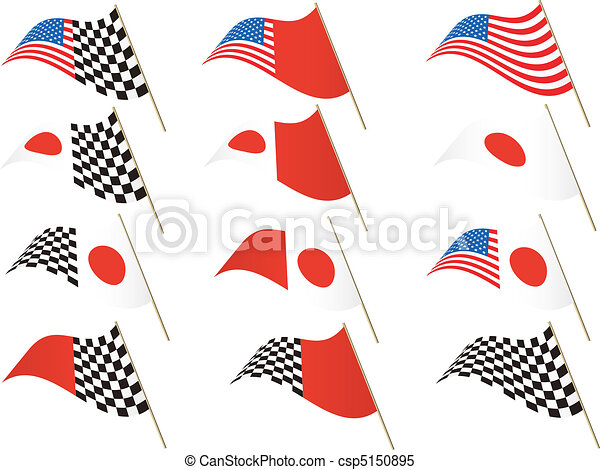 USA and Japanese Flag - csp5150895