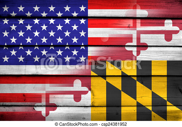 USA and Maryland State Flag on wood background - csp24381952