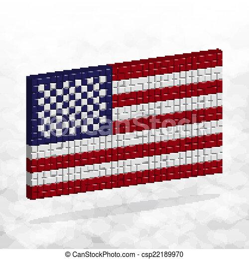 Usa Bandera 3d Pixel Art