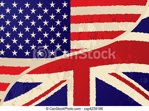 usa british grunge flag - csp4239186