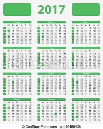 USA calendar 2017, with official holidays - csp40456436