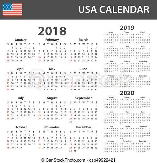 Calendario 2020 Editable Illustrator.Usa Calendar For 2018 2019 And 2020 Scheduler Agenda Or Diary Template Week Starts On Sunday
