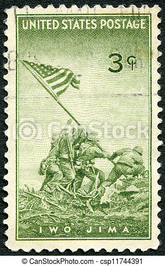 USA - CIRCA 1945 : A stamp printed in the USA shows Marines Raising the Flag on Mount Suribachi, Iwo Jima, from a Photograph by Joel Rosenthal, Achievements of the U.S. Marines in WWII, circa 1945 - csp11744391