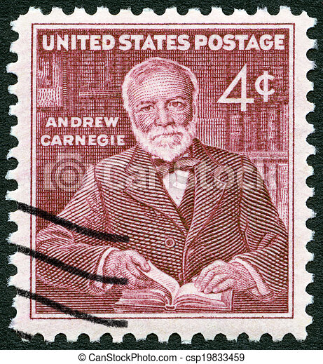 USA - CIRCA 1960: A stamp printed in USA shows Andrew Carnegie (1835-1919), industrialist and philanthropist, circa 1960 - csp19833459