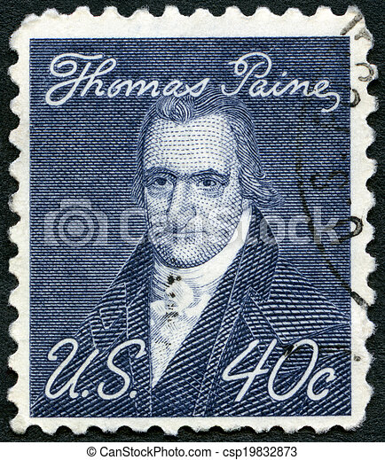 USA - CIRCA 1969: A stamp printed in USA shows portrait of Thomas Paine (1737-1809), by John Wesley Jarvis, Prominent Americans Issue, circa 1969 - csp19832873