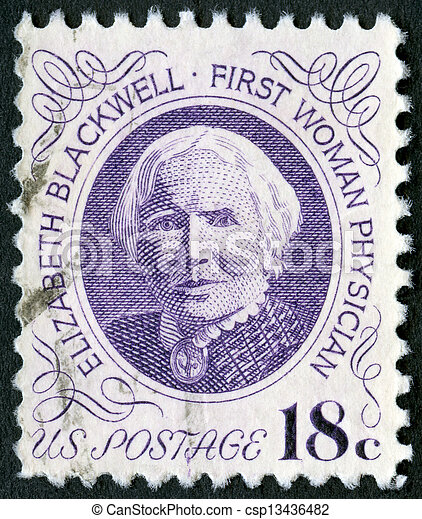 USA - CIRCA 1974: A stamp printed in USA shows portrait of Dr. Elizabeth Blackwell (1821-1910), circa 1974 - csp13436482