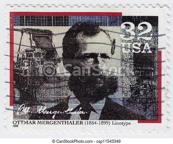 USA - CIRCA 1996 : stamp printed in USA shows Ottmar Mergenthaler inventor of the Linotype machine, circa 1996 - csp11543349