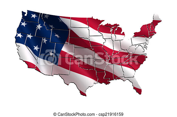 USA colorful map 3D - csp21916159