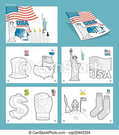 Usa Coloring Book Patriotic Illustrations National Symbols America