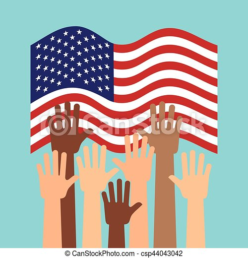 90ae23b44729 Usa country design. Usa country flag and human hands up over blue ...