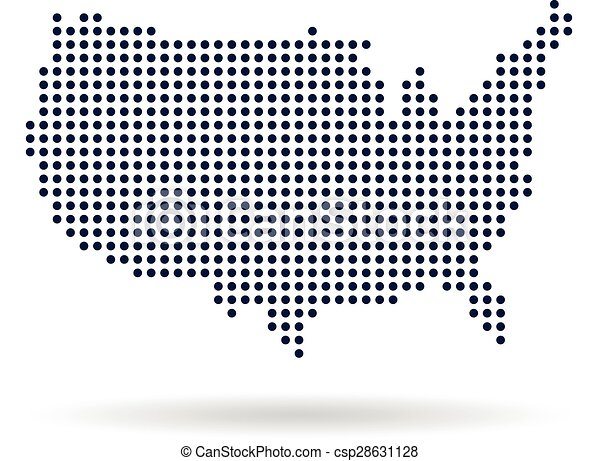 usa dot map concept for networking technology and connections