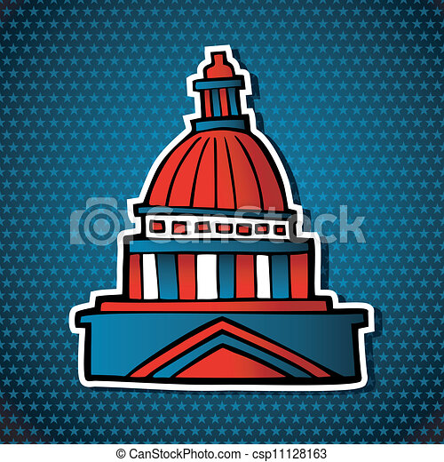 USA elections capitol building sketch icon - csp11128163