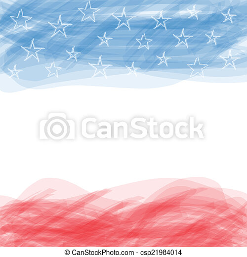 USA flag. A poster with a large scratched frame. - csp21984014